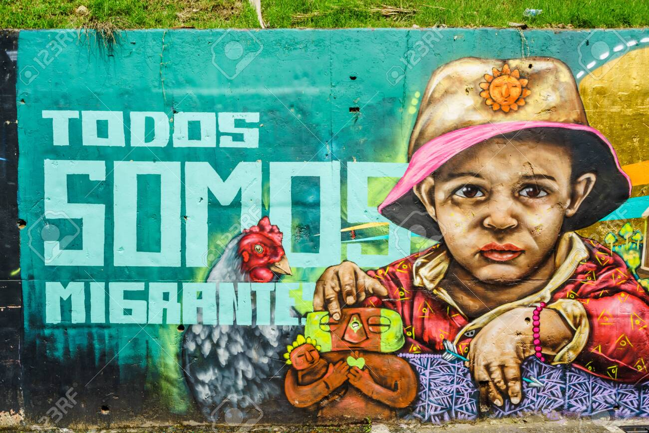 Street art graffiti on a wall in the street of Medellin, Colombia - March 16, 2019 - 142308856