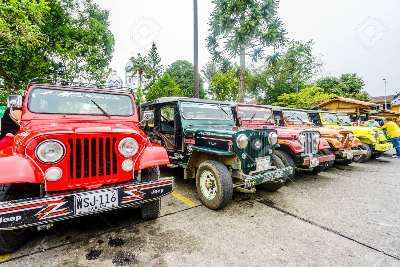 Willy jeeps in the village of Finlandia next to the valley of Salento in Colombia on 23th March 2019 - 142308868