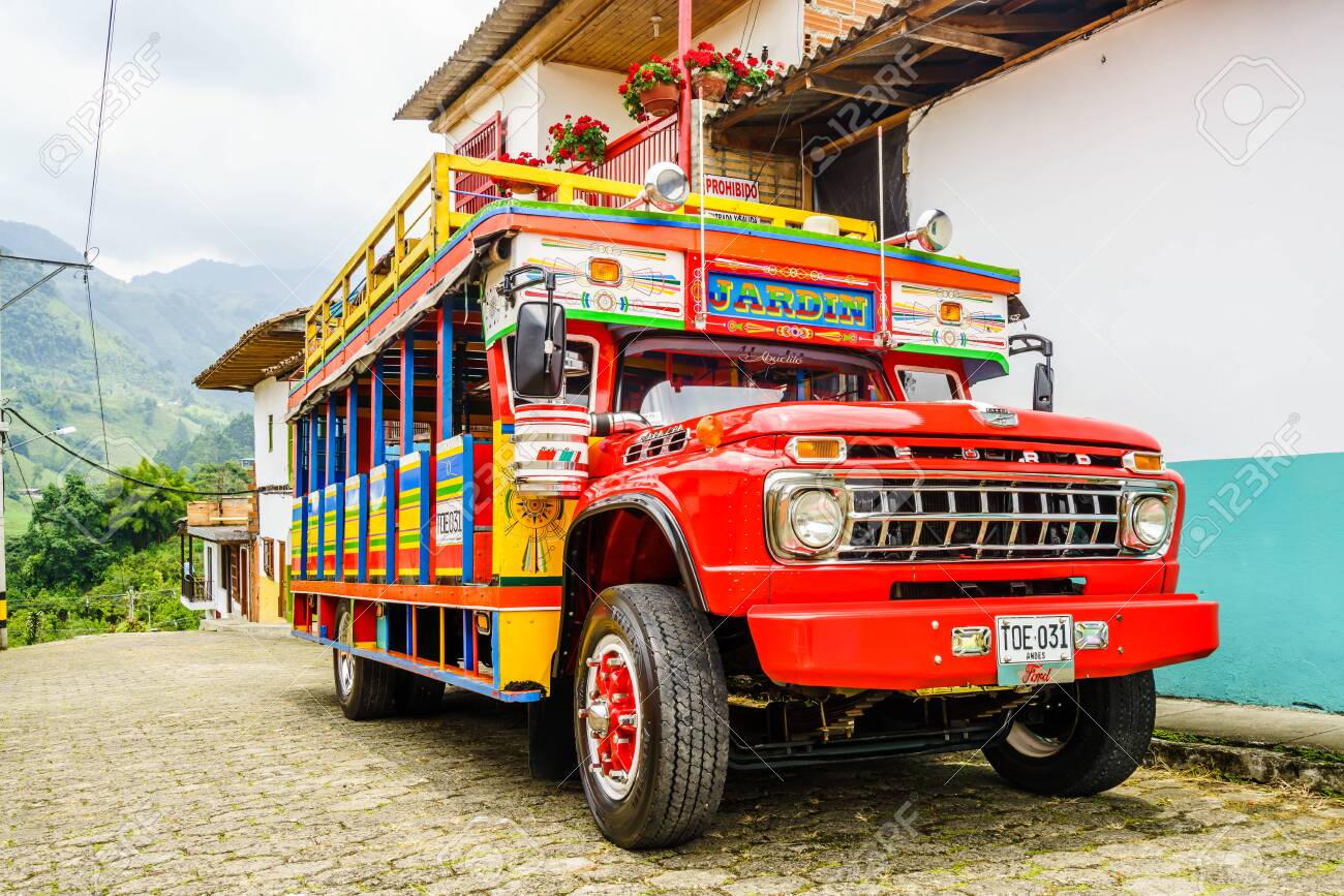 Jardin, COLOMBIA - 27th March 2019. Colorful traditional rural bus in Colombia called chiva - 142308867