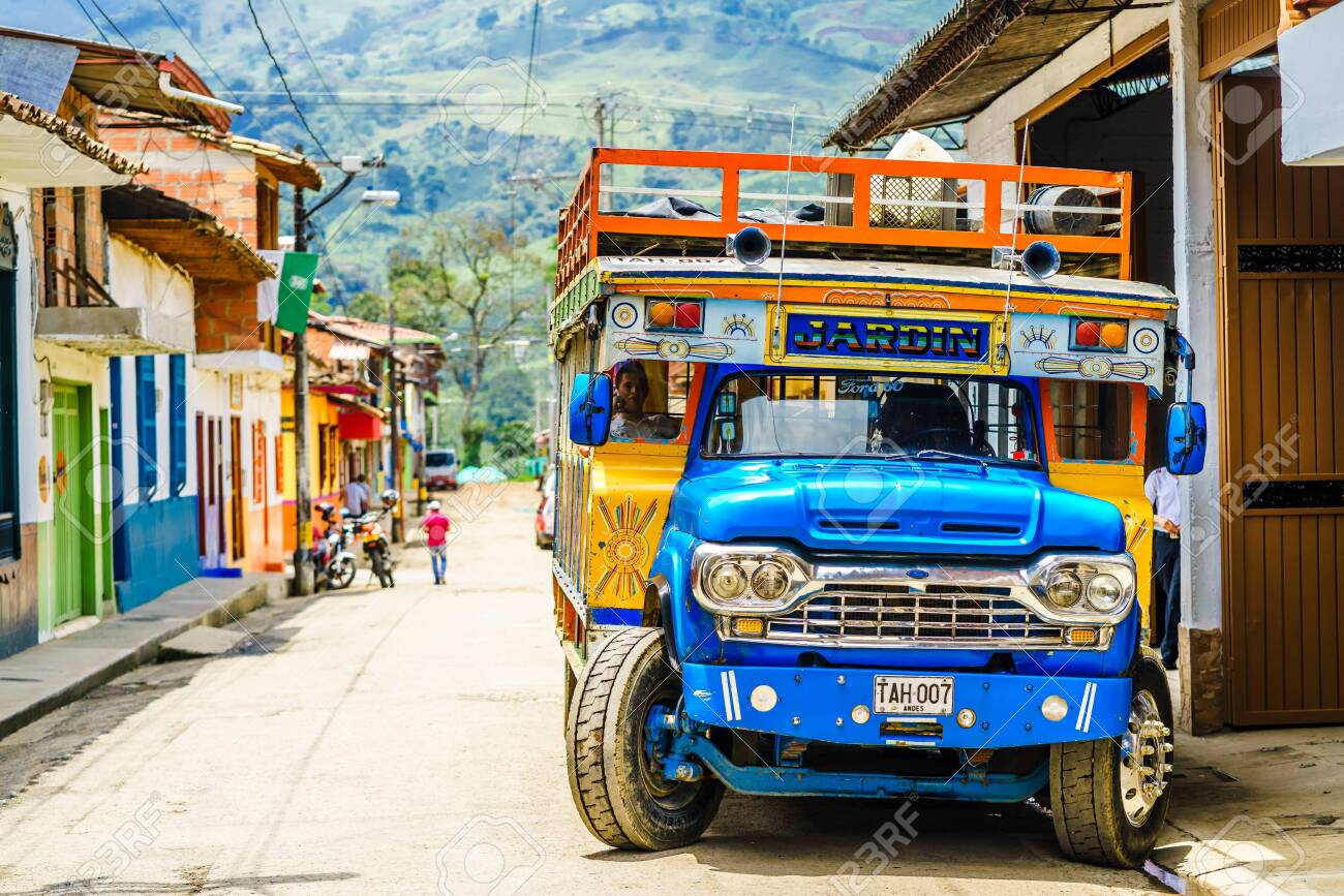 View on typical colorful chicken bus in Jardin, Antioquia, Colombia, South America on 27th March 2019 - 142308870