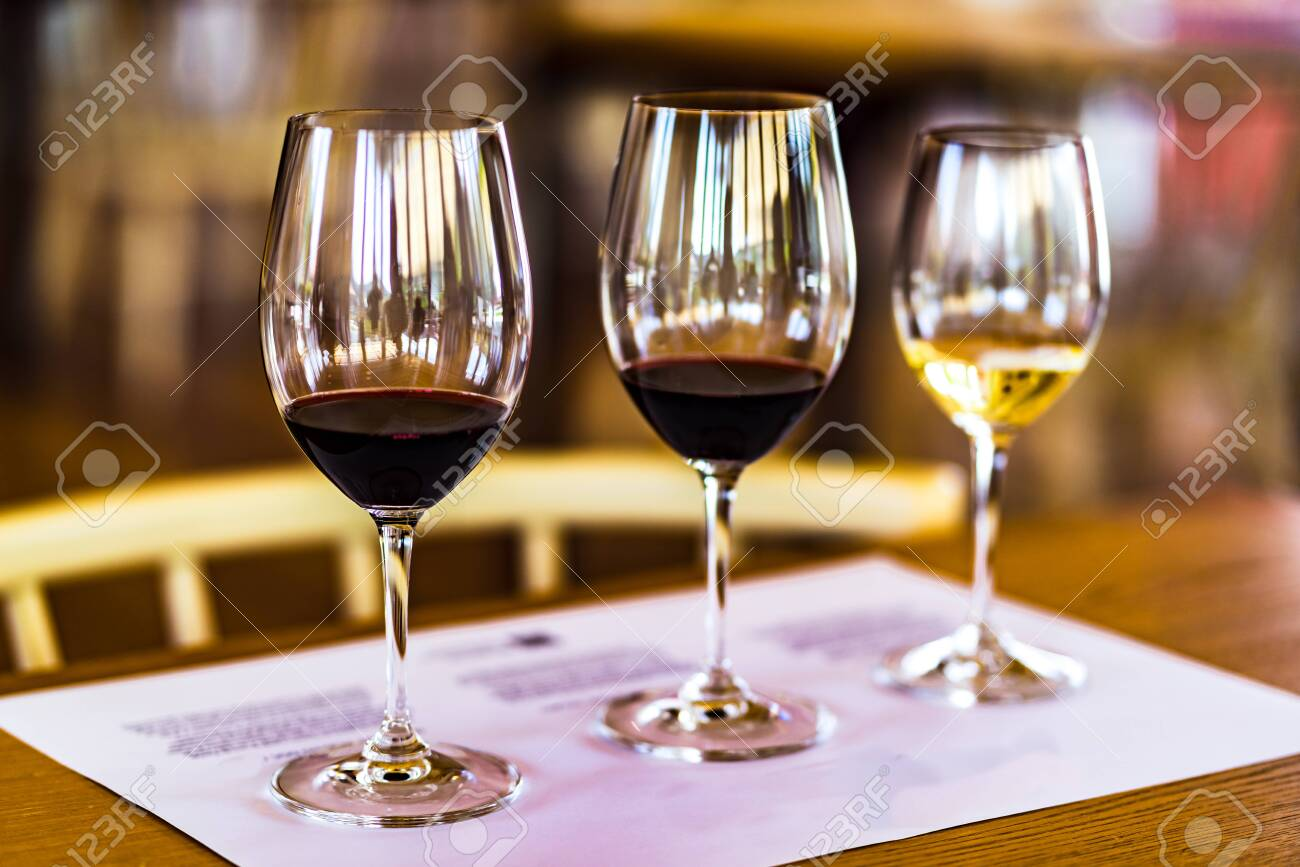 View on Degustation of white and red port wine in tasting room, Portugal - 142709853