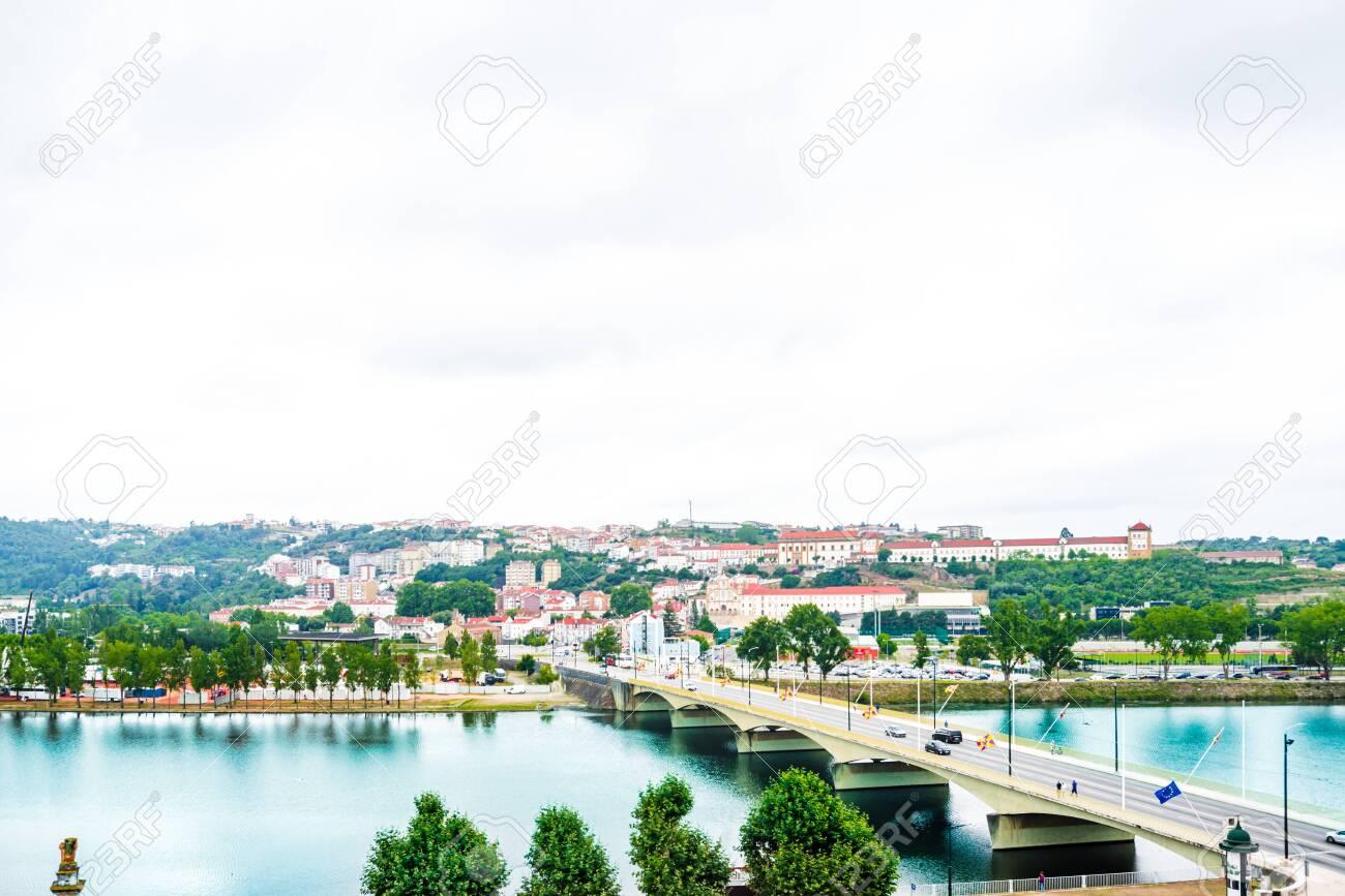 View of the central area, Mondego River and Santa Clara Bridge of Coimbra, Portugal - 142709898