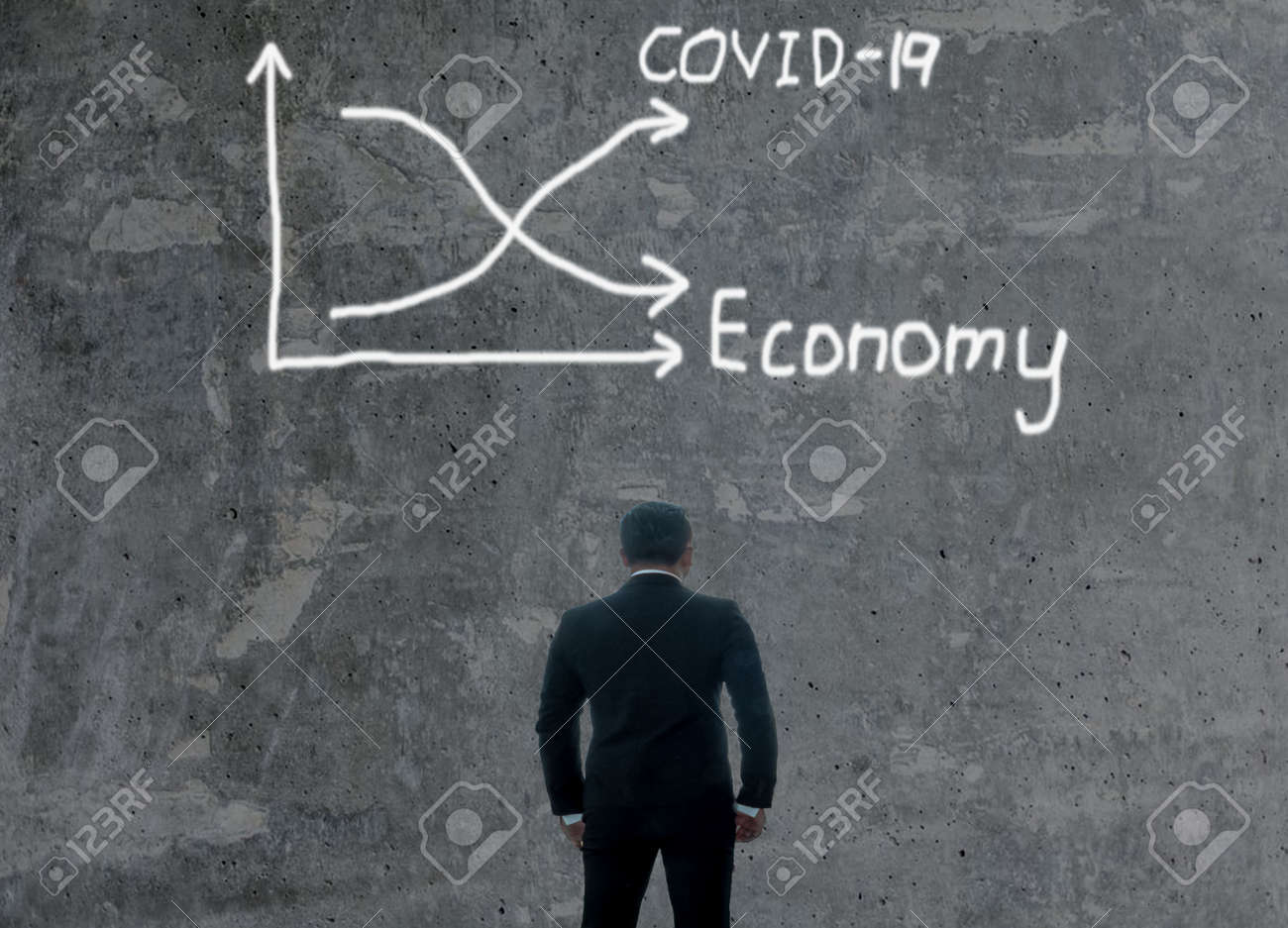 Busonessmen ceo manager company office start up is standing look chart graph down information arrow economy financial crisis from covid-19 corona virus disease.Male dicision strategy marketing - 158658895