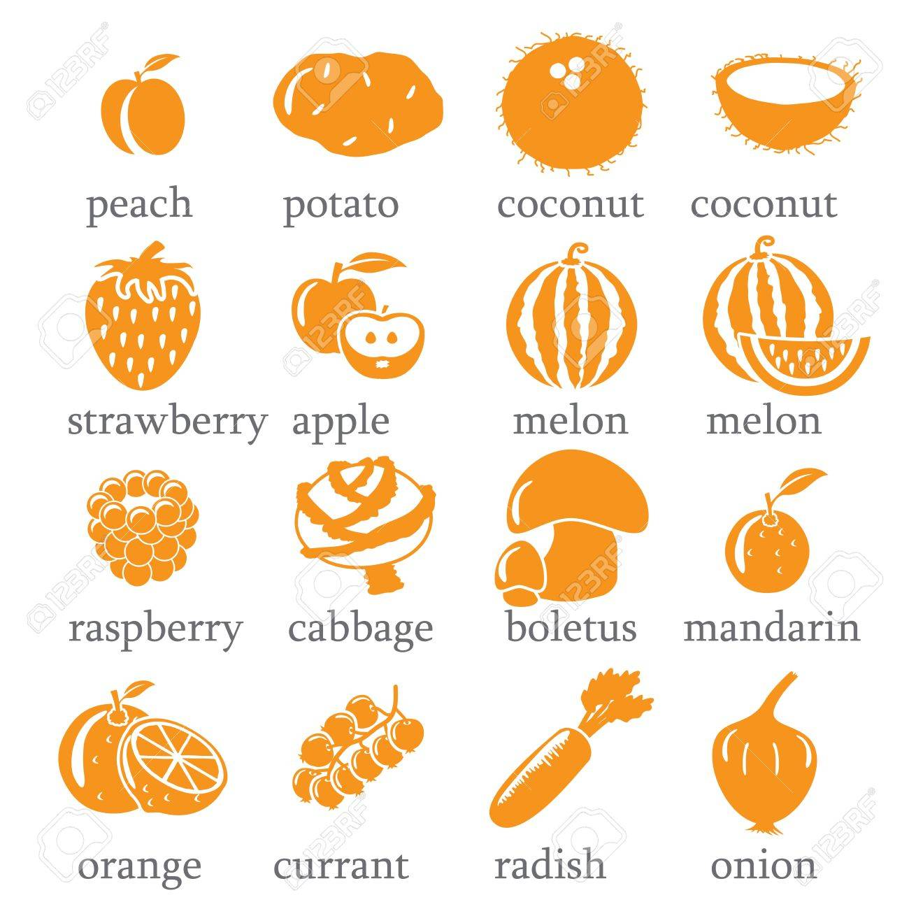Set of fruits and vegetables icons Stock Vector - 16878546