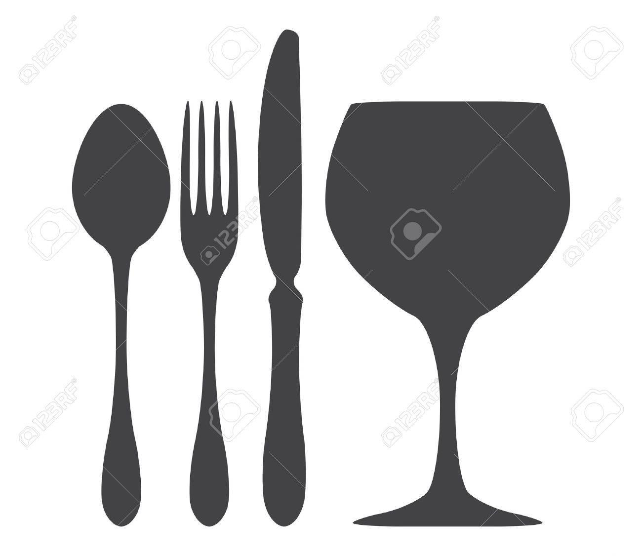 Cutlery spoon knife fork glass illustration Stock Vector - 17187281