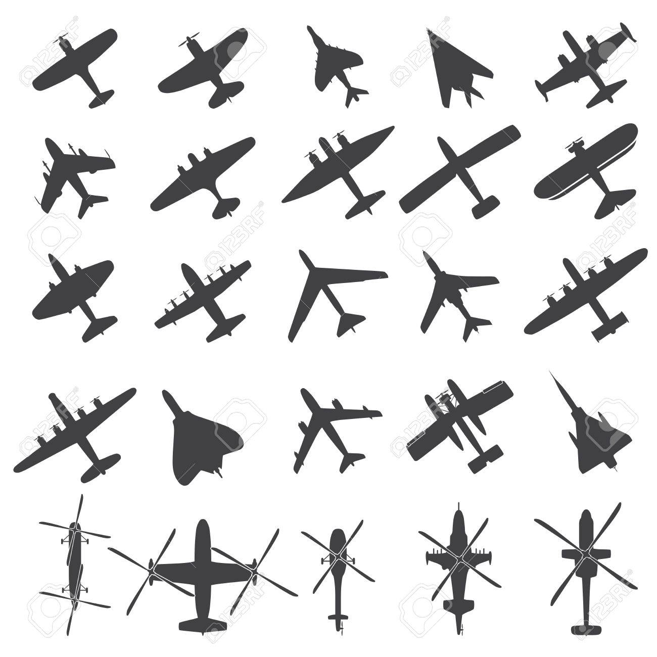 Icons set Airplanes Stock Vector - 17187287