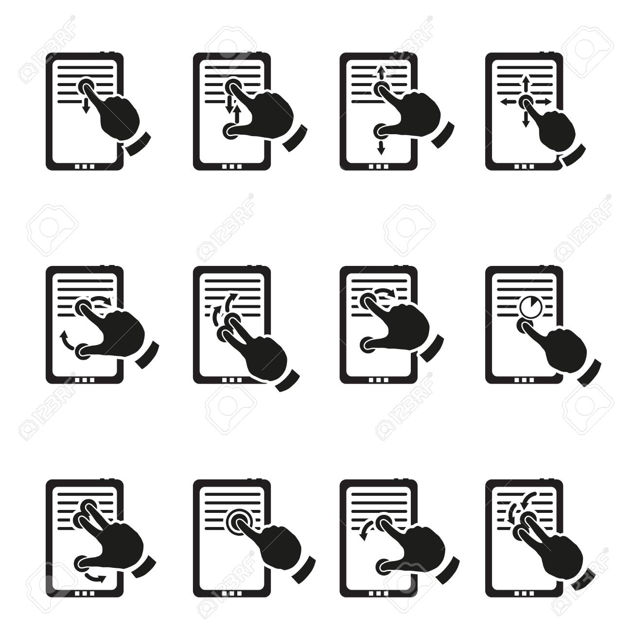 Set of multitouch gestures Stock Vector - 18399512