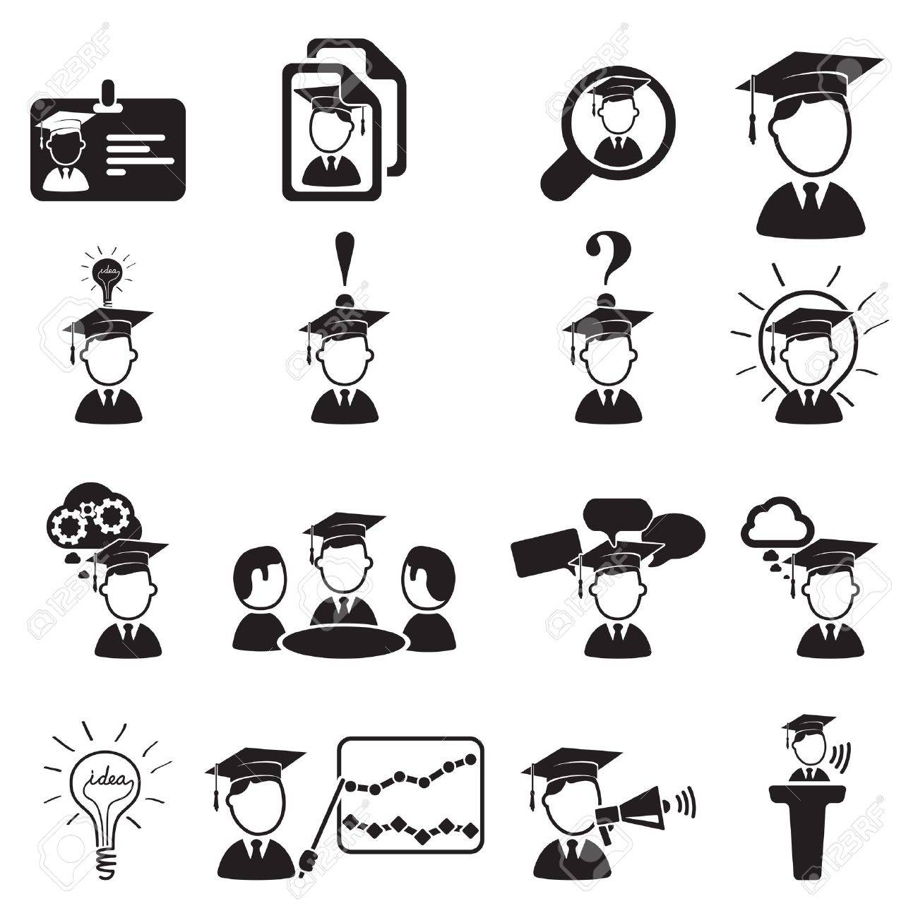 education icons set Stock Vector - 18458732