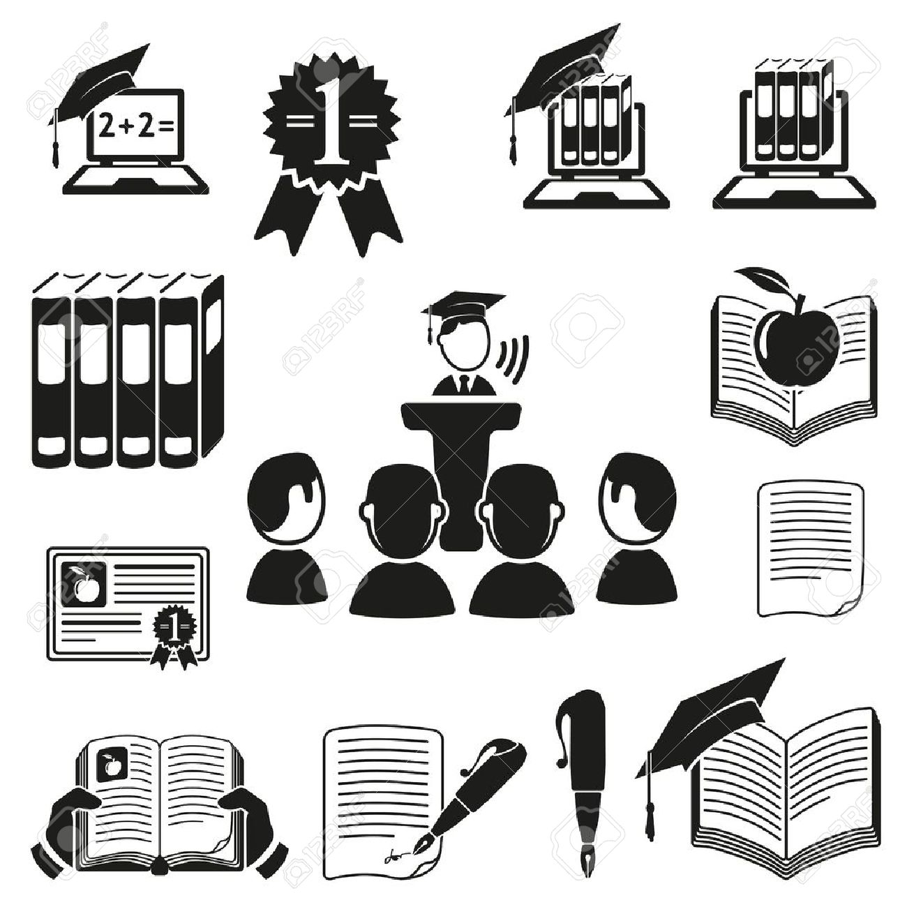 education icons set Stock Vector - 18537702