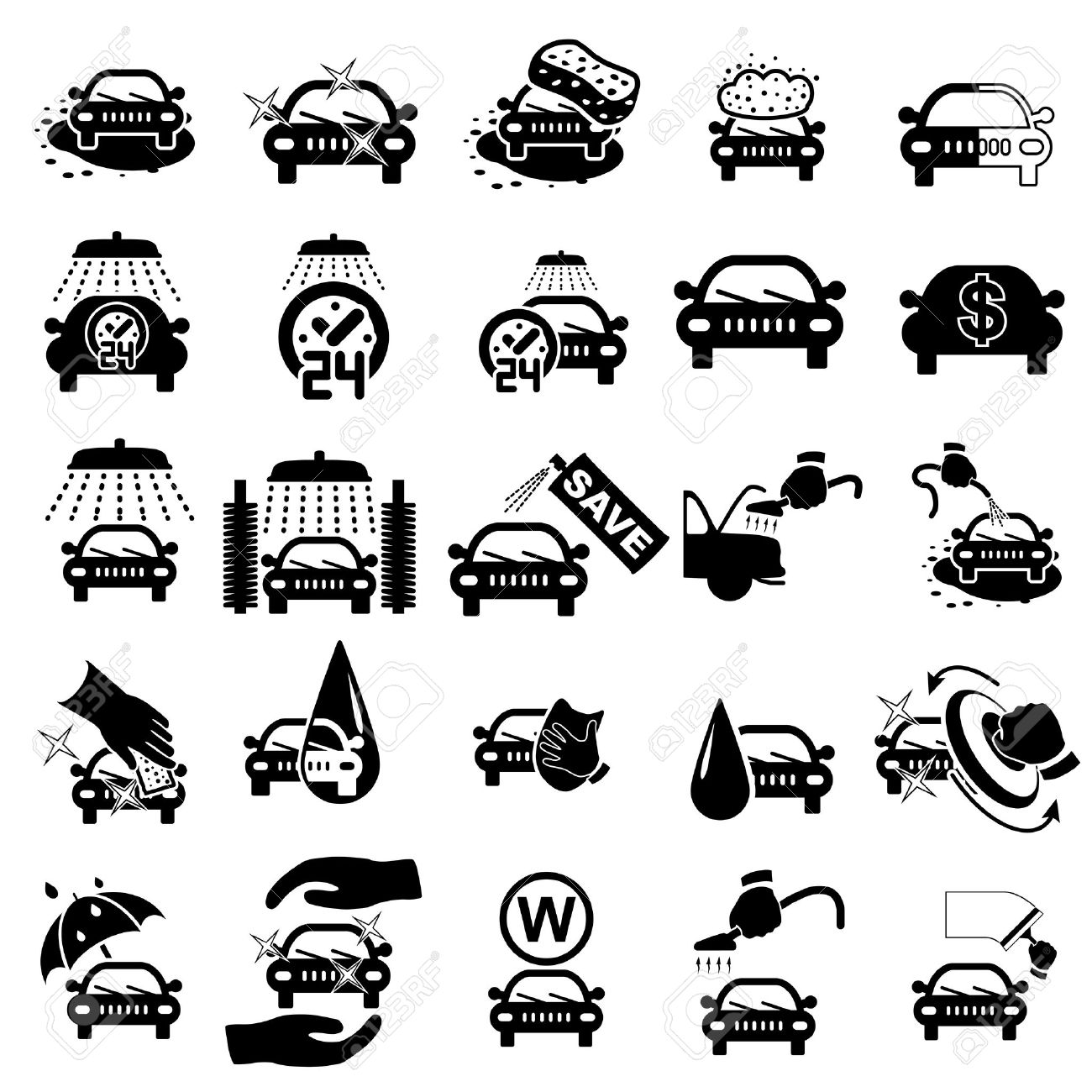 Car wash icons set on white - vector illustration Stock Vector - 22971660