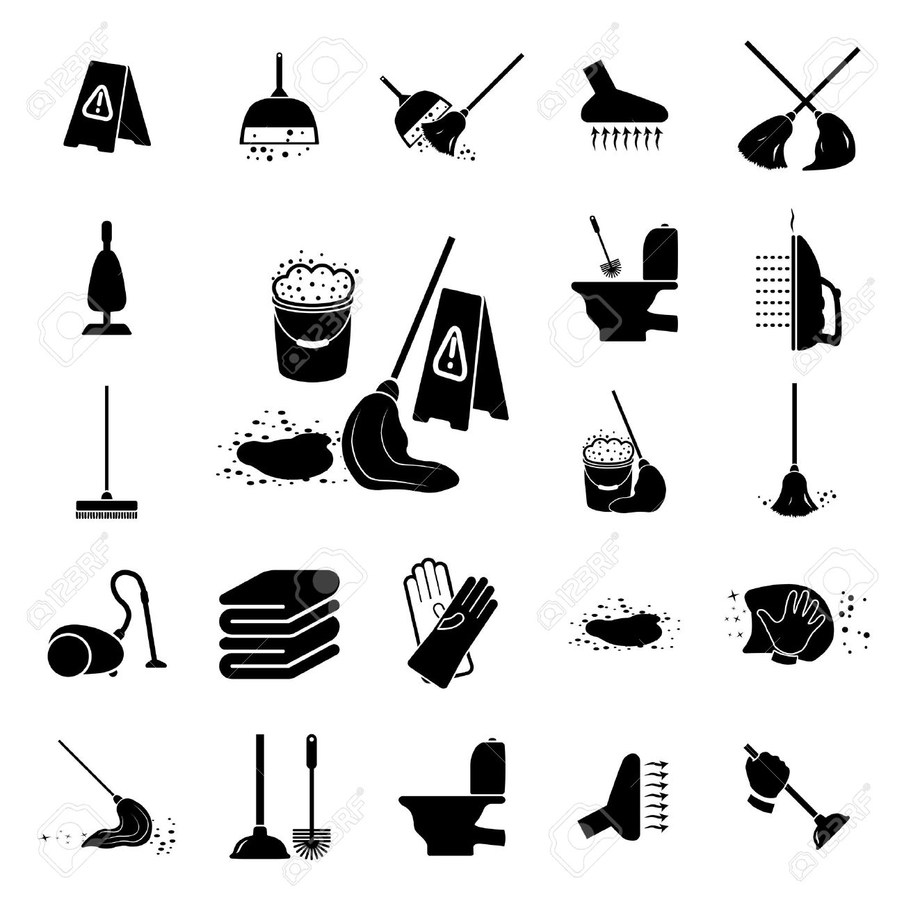 Icons set Cleaning Vector illustration on white background - 22971694