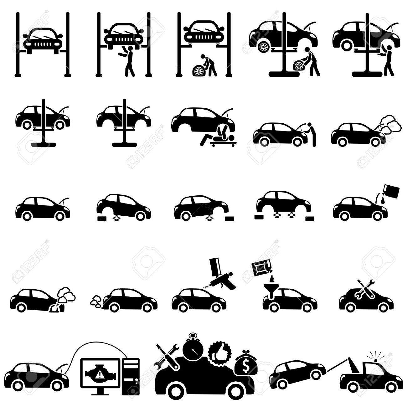 Set of auto repair Icons  vector illustration Stock Vector - 22972523