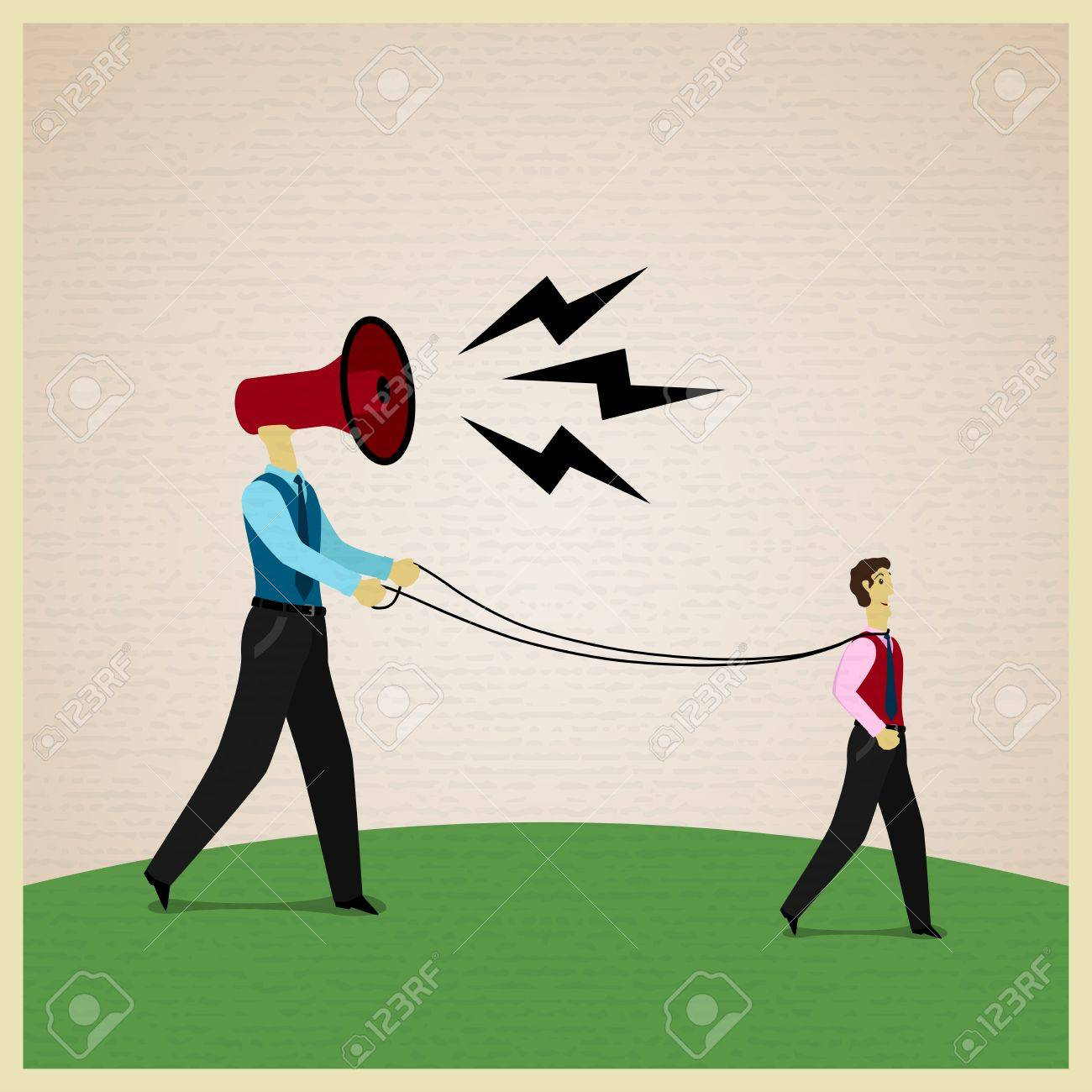 Businessman marionette on ropes controlled by boss. Vector illustration Stock Vector - 24013393