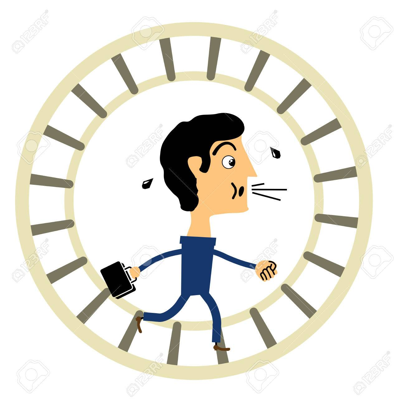 businessman running in a wheel on a circle Stock Vector - 24192616