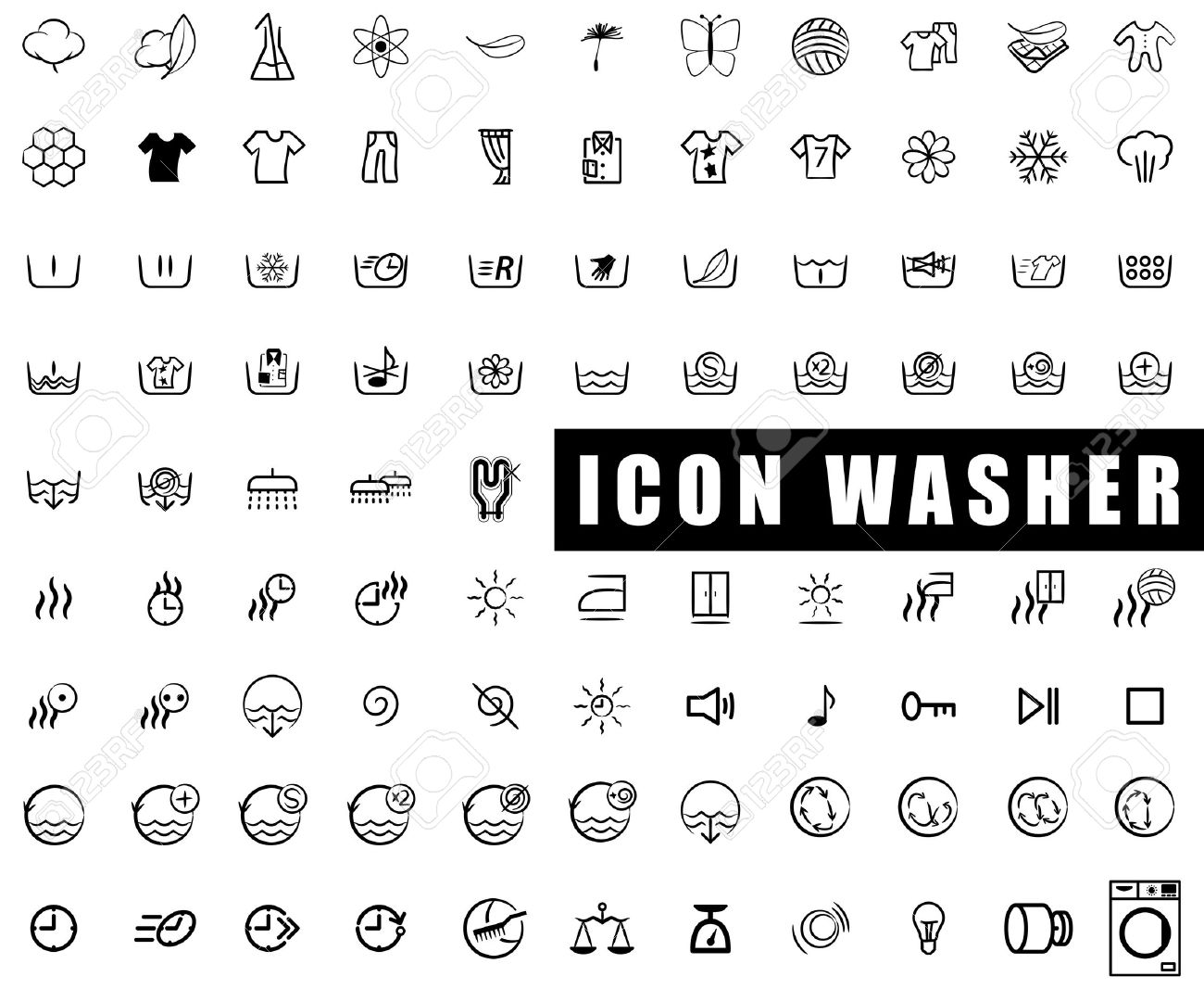 Icon Collection Washing Machines Washing Wringing Drying Royalty
