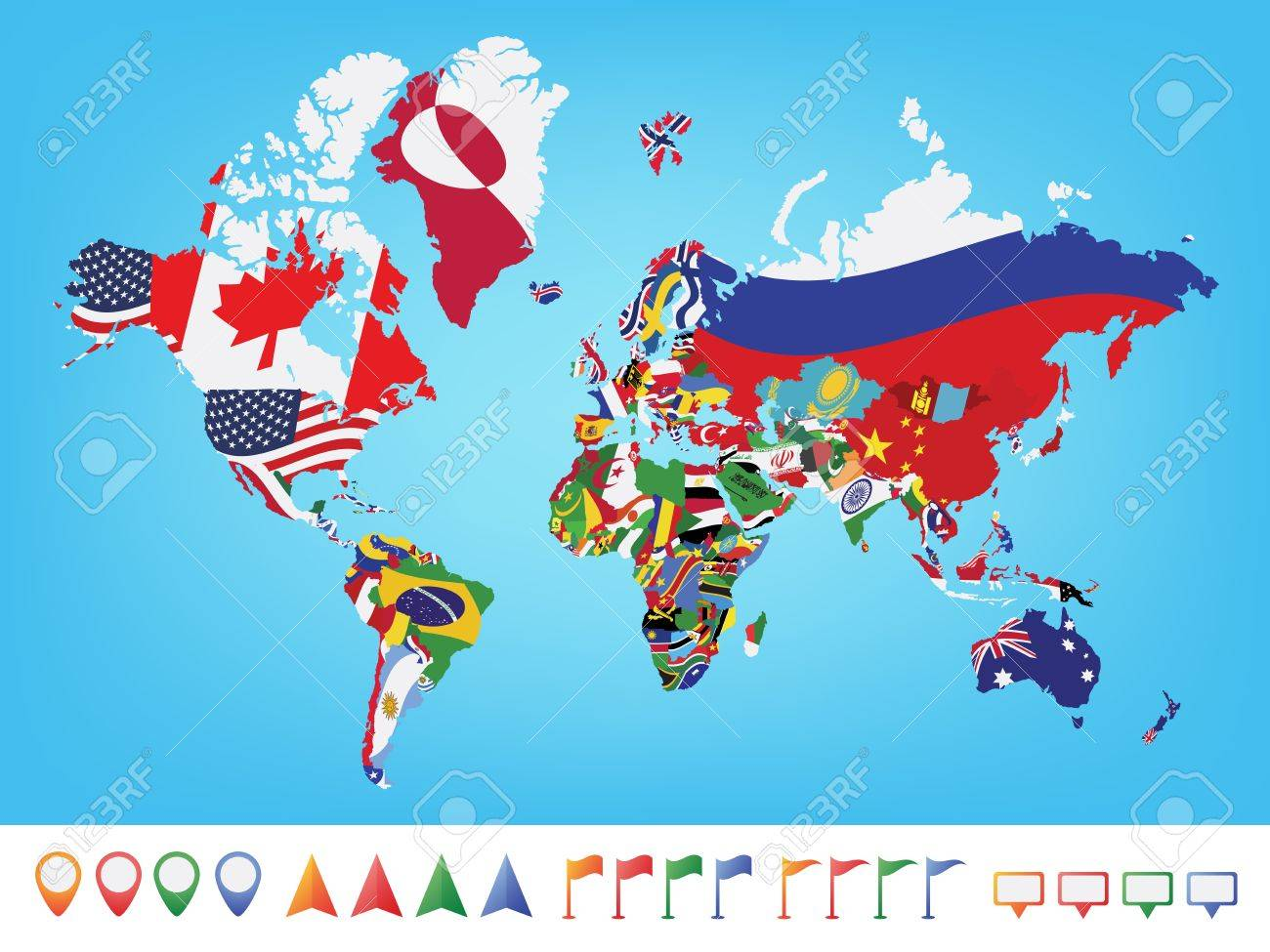 World map with flag on blue background royalty free cliparts vector world map with flag on blue background gumiabroncs Gallery