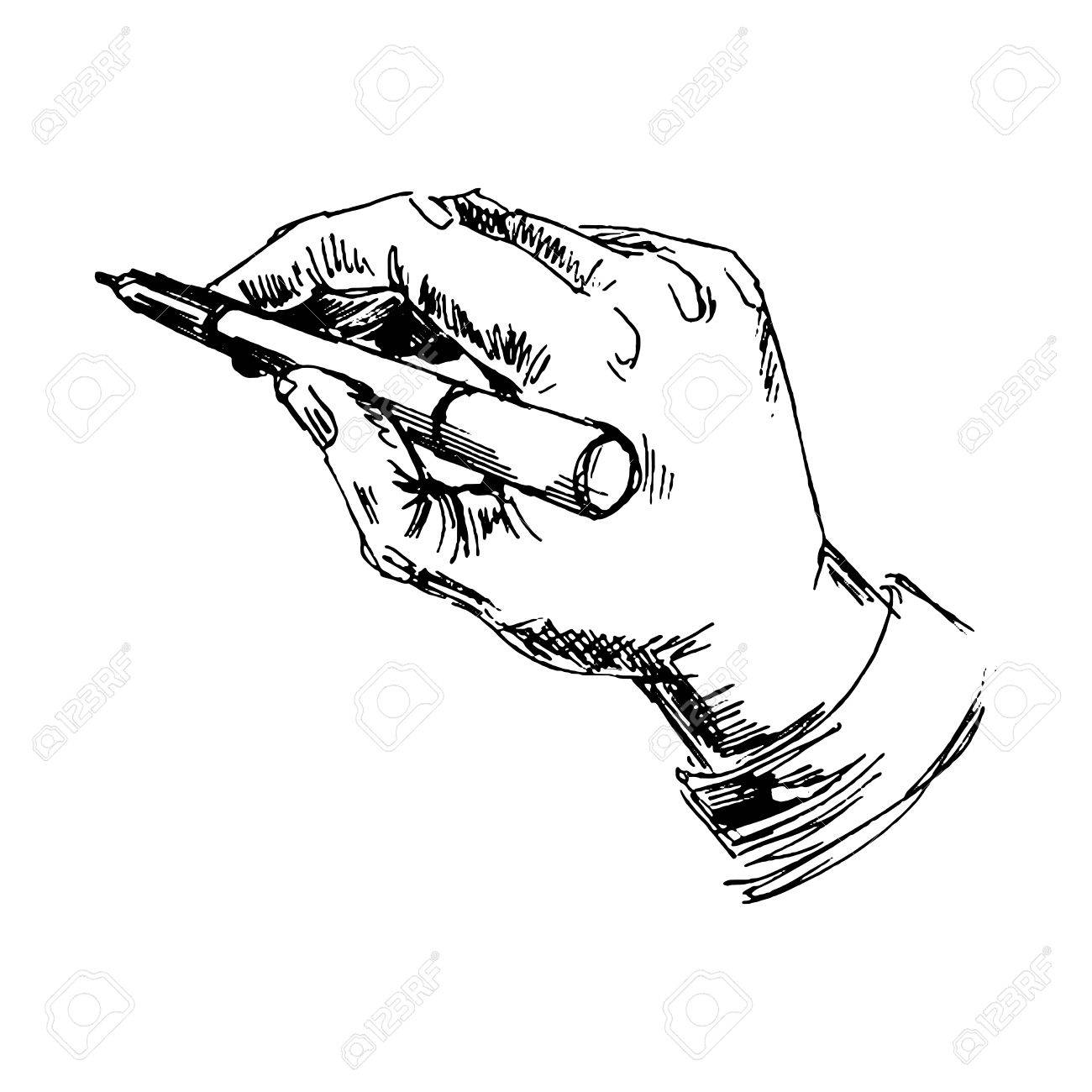 Hand with pencil sketch converted to vectors stock vector 37928710