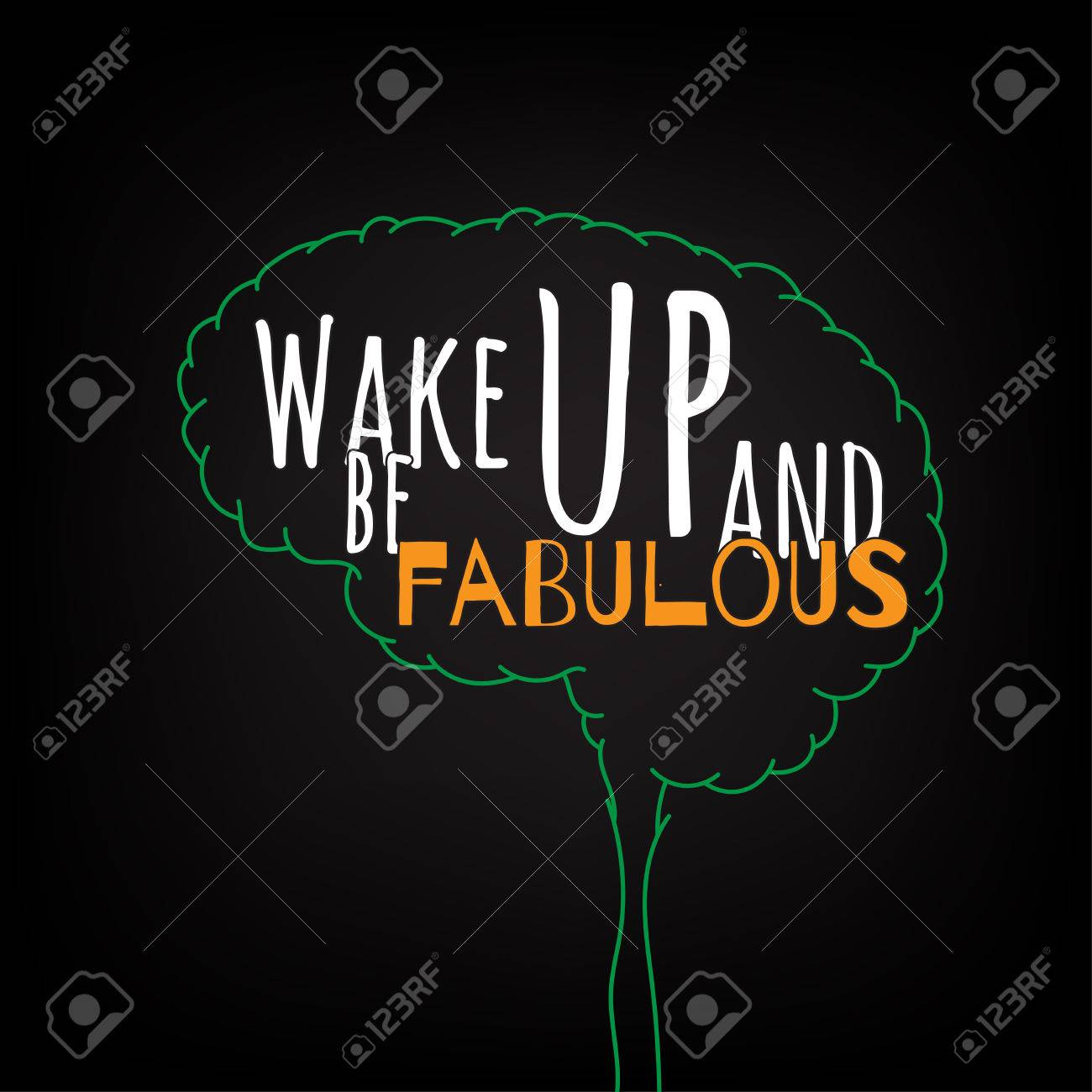 vector wake up and be fabulous motivation clever ideas in the brain poster text lettering of an inspirational saying quote typographical poster template