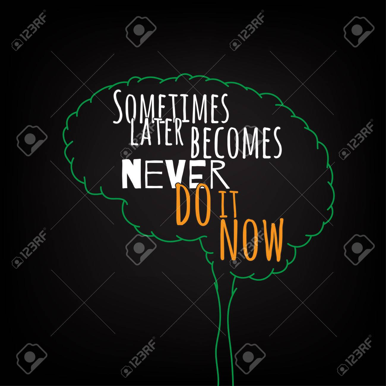 sometimes later becomes never do it now motivation clever ideas in the brain poster text