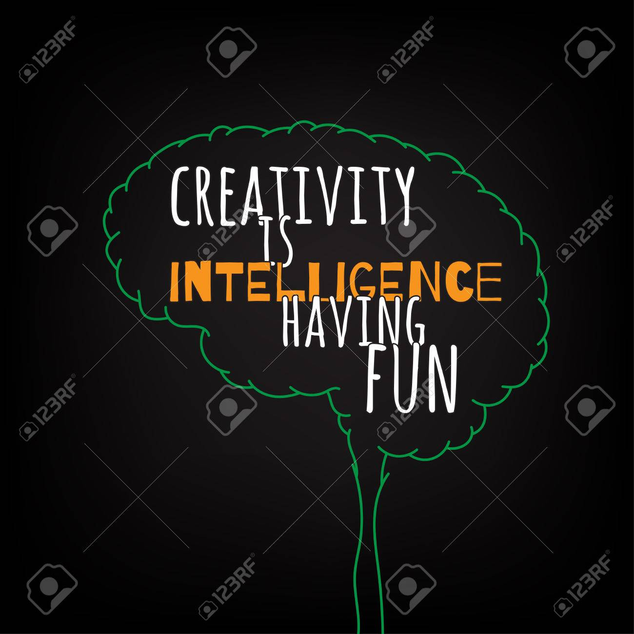 Creativity Is Intelligence Having Fun Motivation Clever Ideas In The Brain  Poster. Text Lettering Of