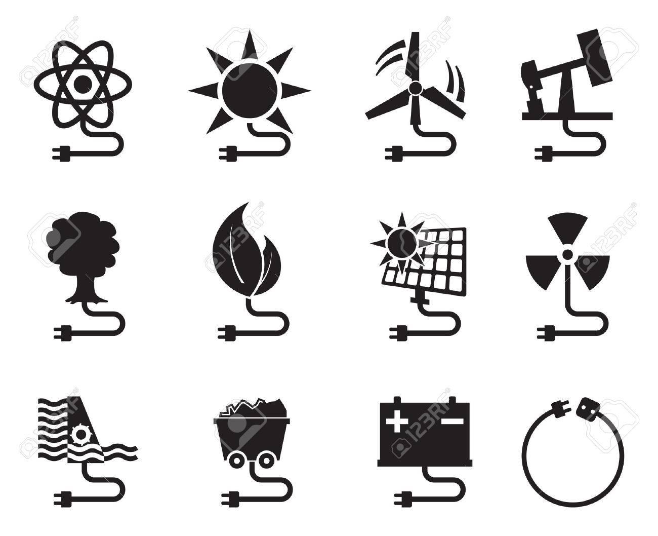 Energy icon energy source electricity power resource set vector - 52727568