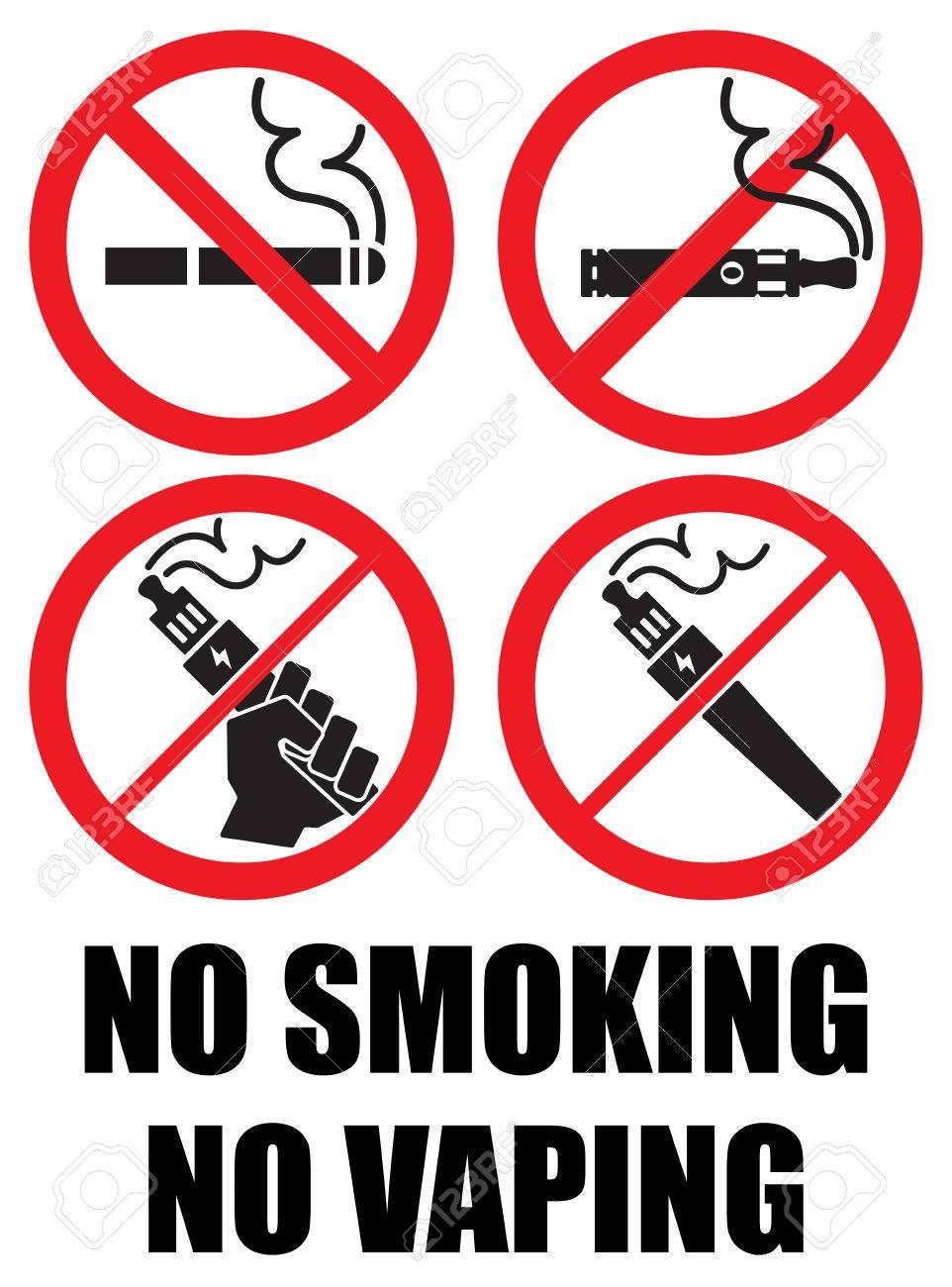 set vaping icons no smoking sign vape - 57236220