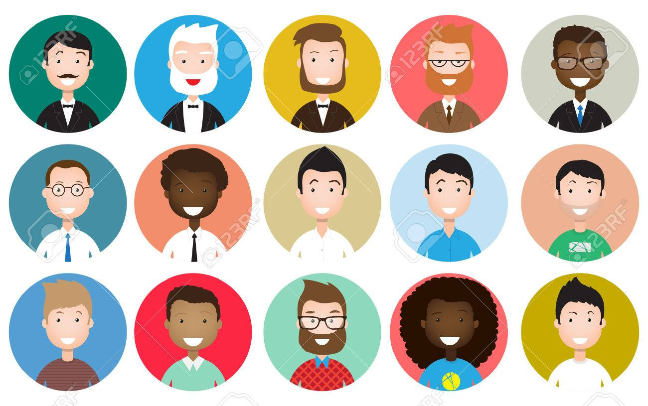 male avatar icons set people characters in flat style design