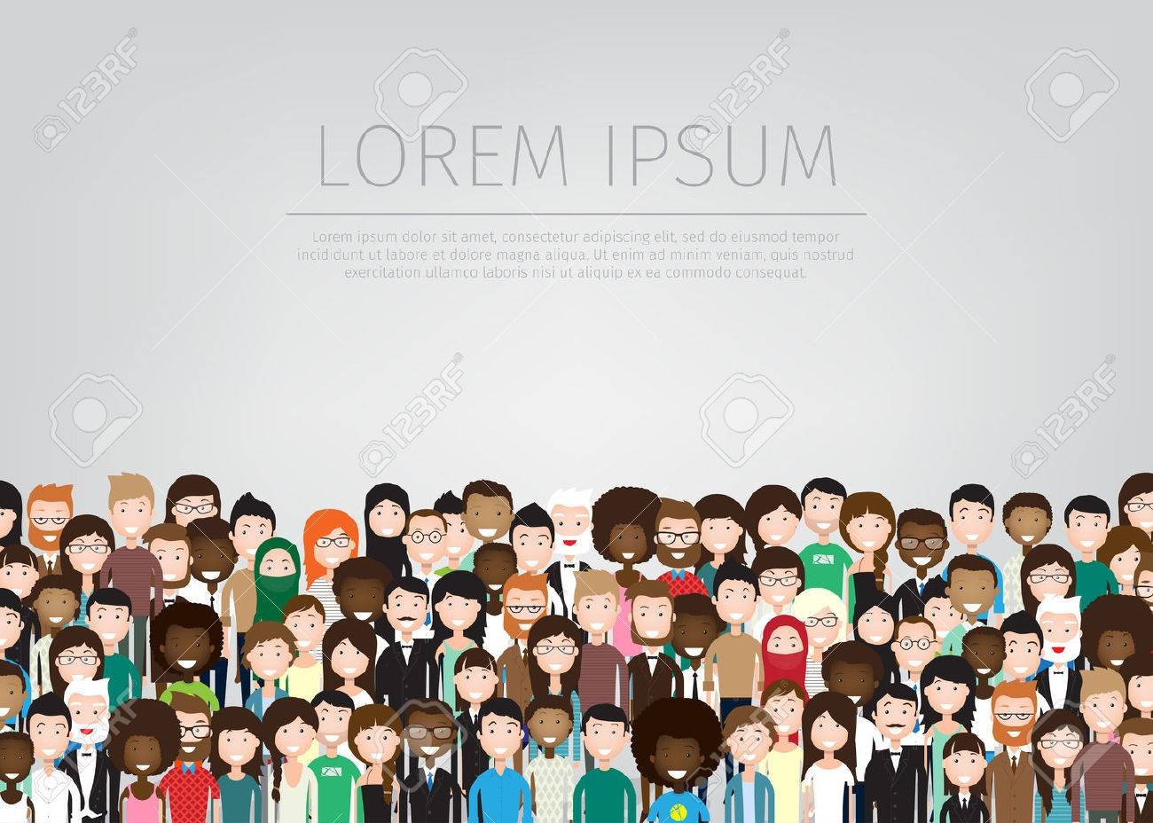 large group of different people background - 64171325