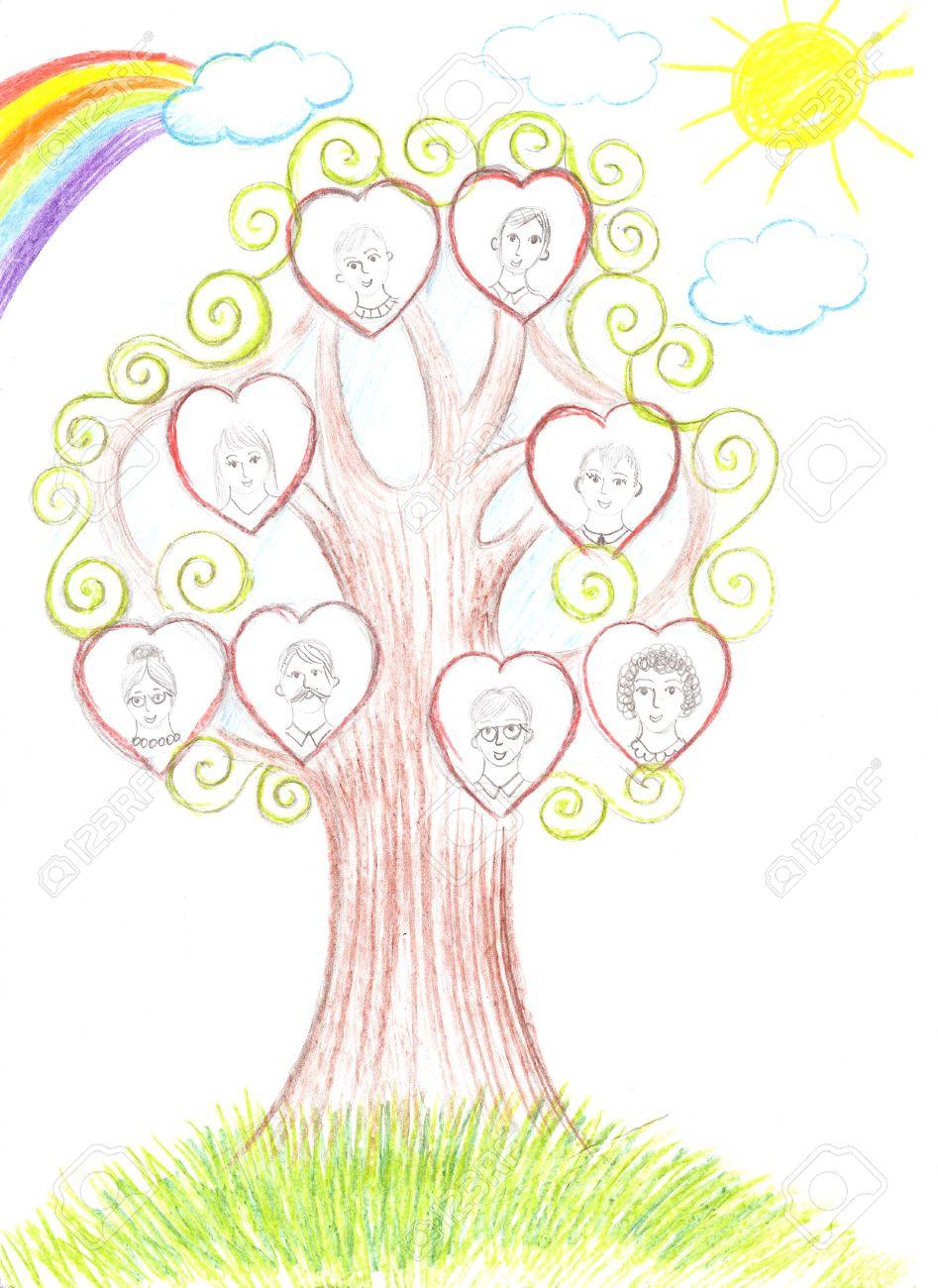 Dibujo Niños De La Familia Y El árbol Genealógico Fotos Retratos