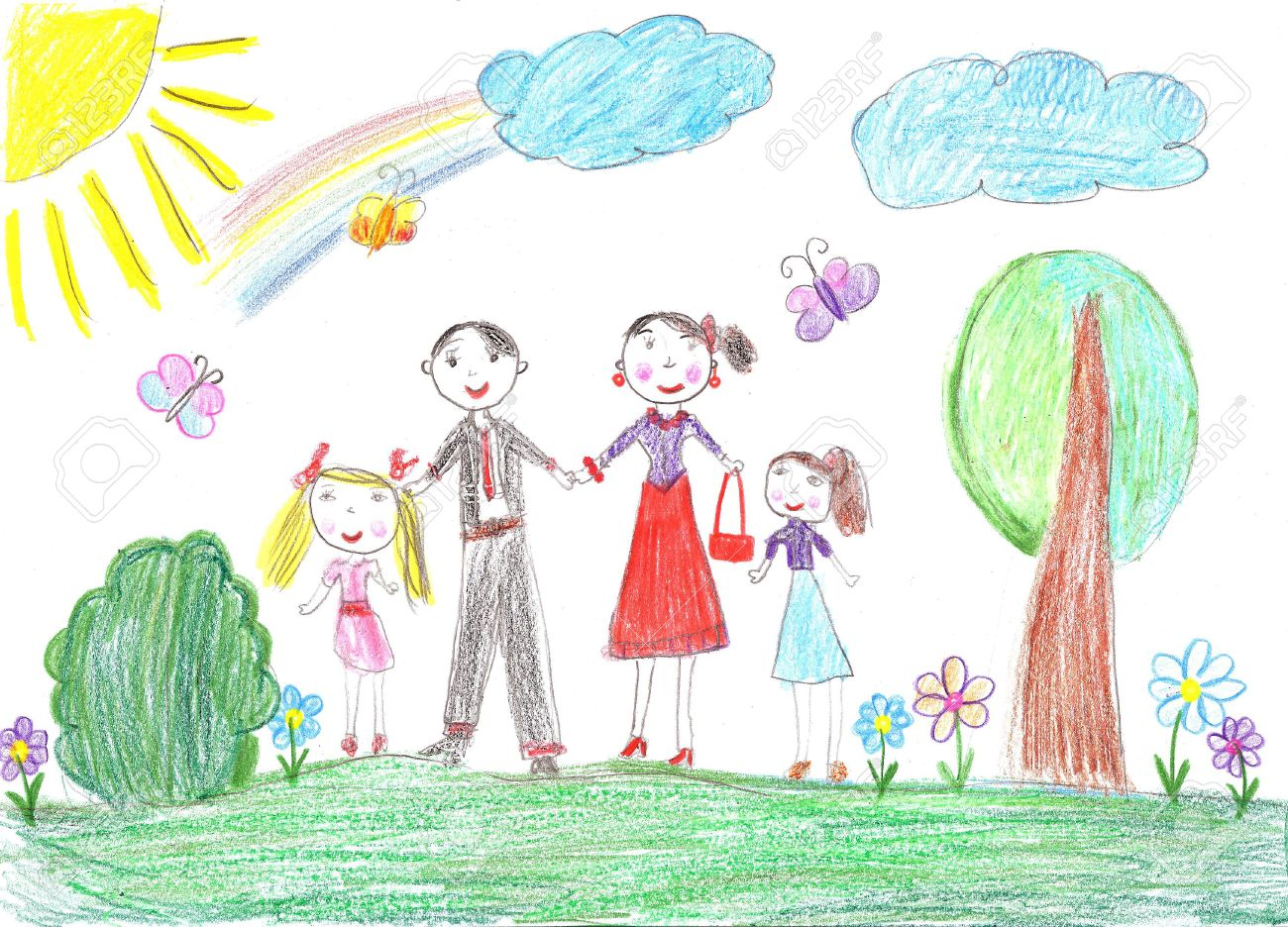 child drawinghappy family with two children stock photo 41080633 - Drawing Pictures For Children