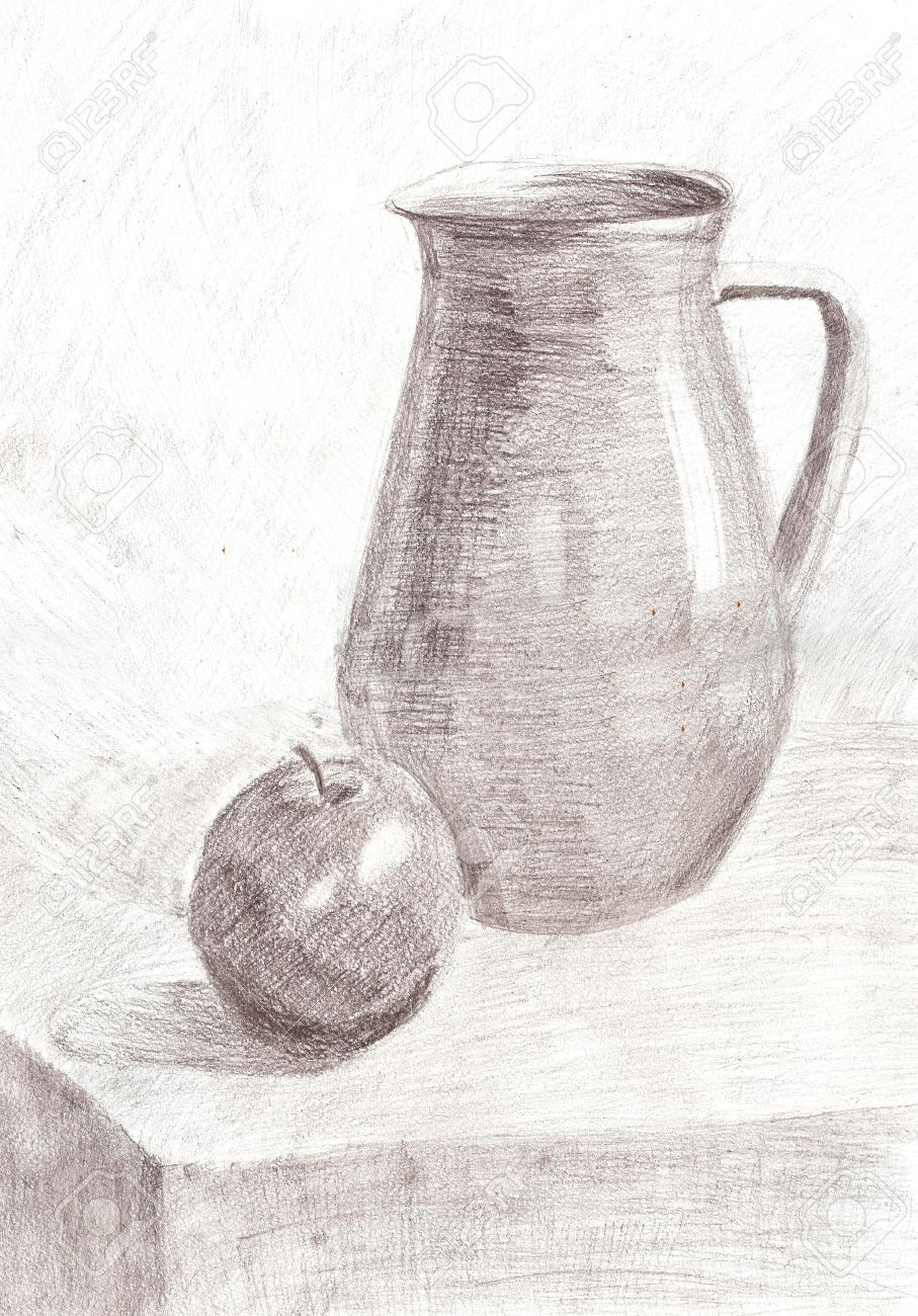 Pencil drawing still life jug and apple on the table stock photo 41781173