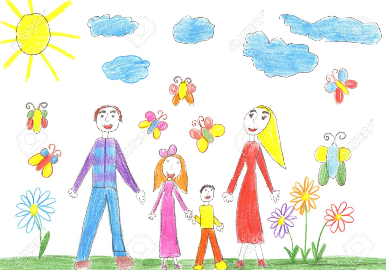 Uncategorized Child Drawing child drawing happy family with two children brother and sister stock photo 42121310