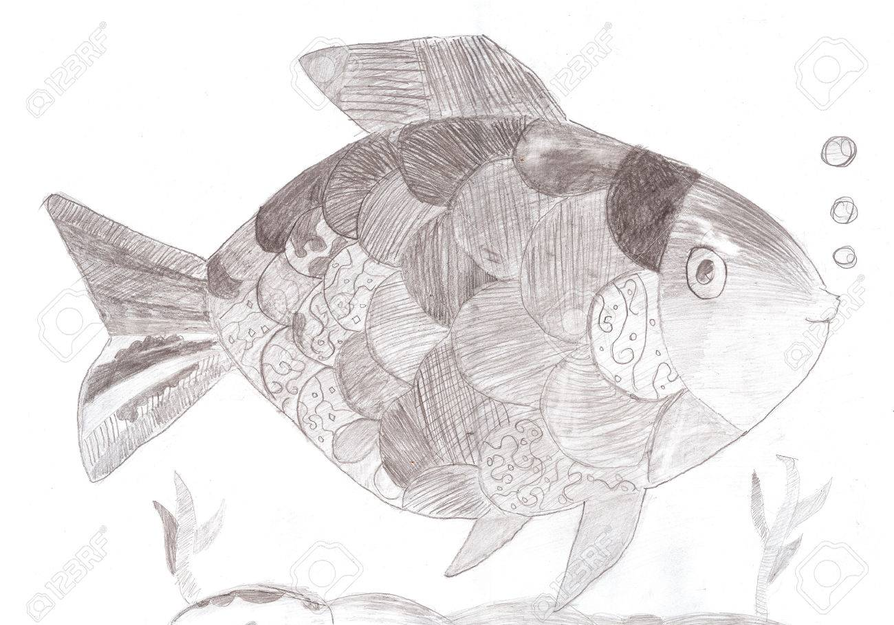 Funny fish pencil drawing sketch