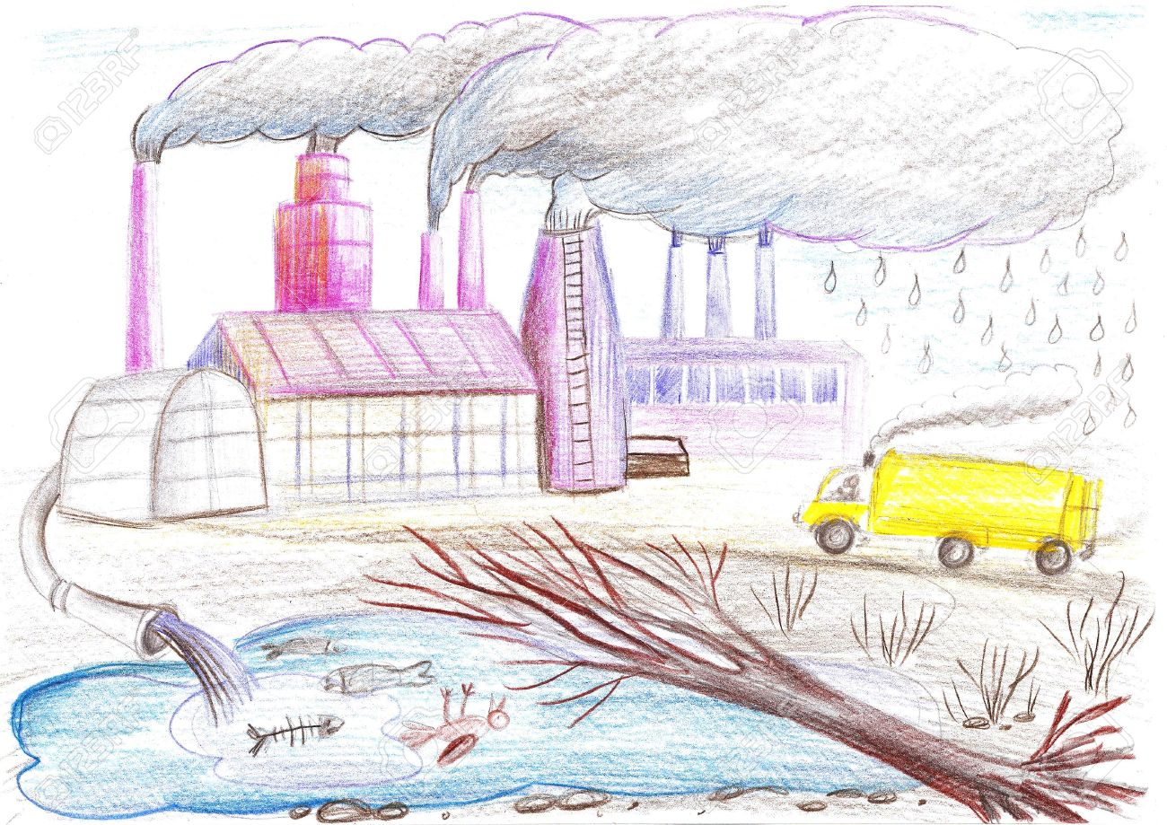 Ecological drawing on the theme of environmental pollution factory tube waste stock photo