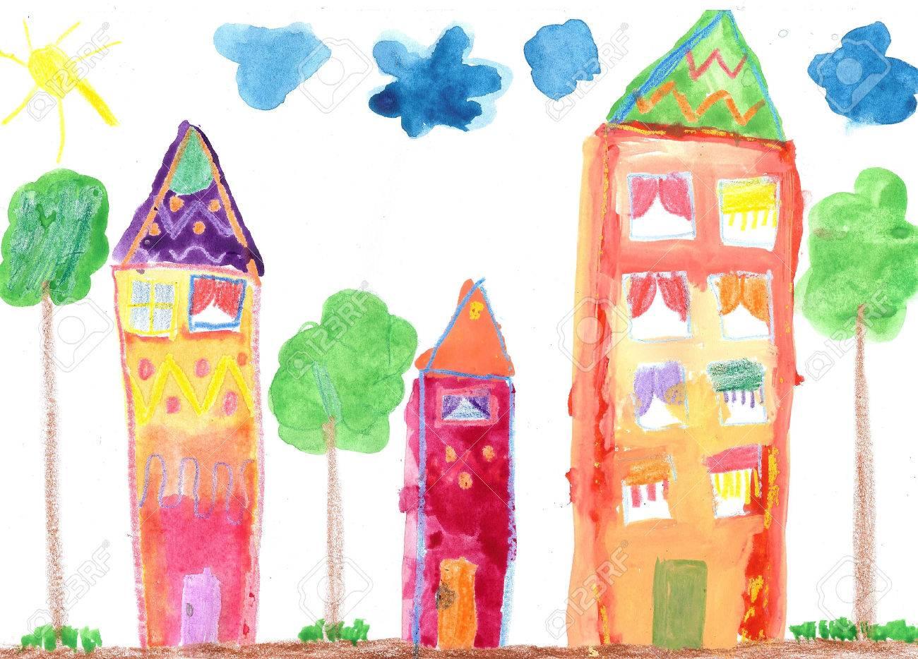 Banque dimages dessin de lenfant maison de campagne et arbres la peinture à laquarelle