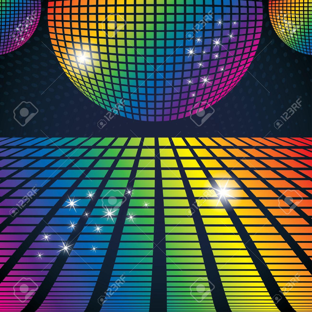 ディスコ ボールと抽象的なパーティーの背景のベクトル イラストの