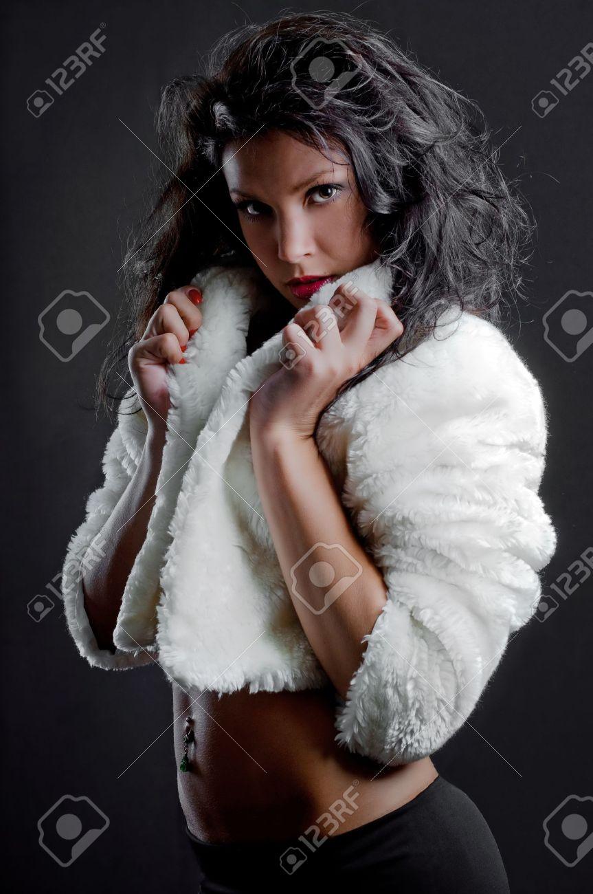 beautiful sexy girl in fur coat Stock Photo - 13304508