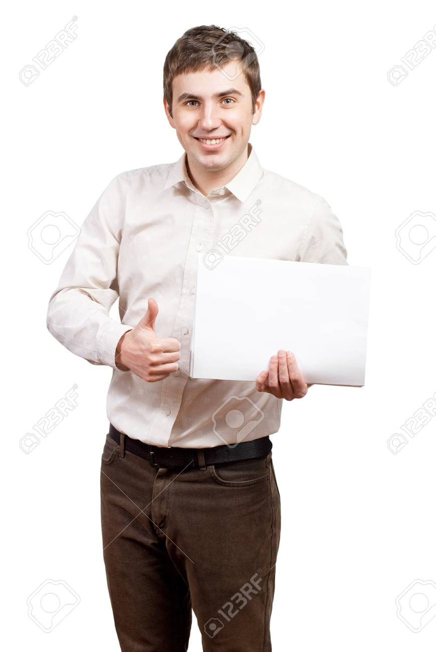 Business man handing a blank business card over white background Stock Photo - 13304492