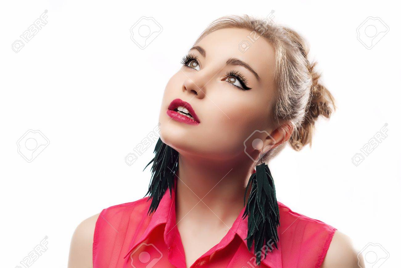 Attractive woman looking up Stock Photo - 15531557
