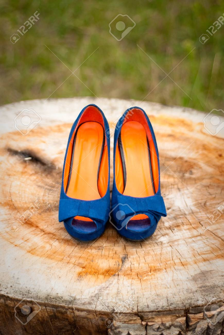 Blue wedding shoes bride Stock Photo - 15407844