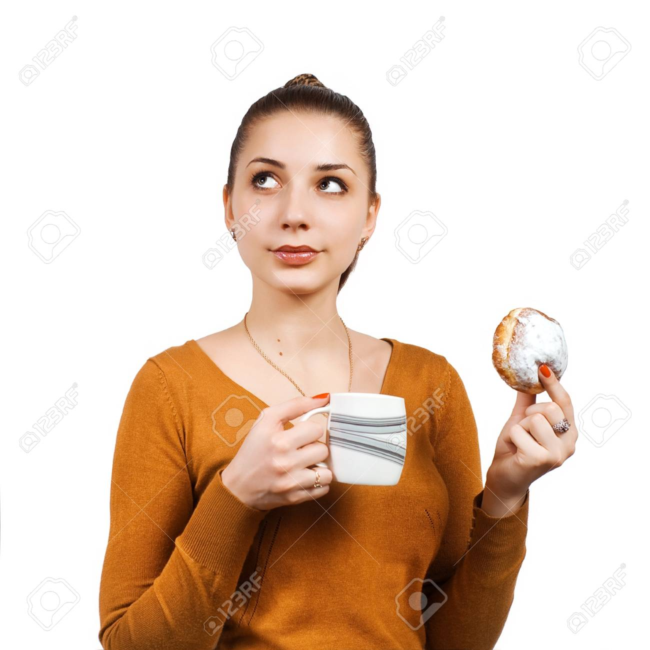 Portrait of pretty young woman with cake and milk Stock Photo - 15531553