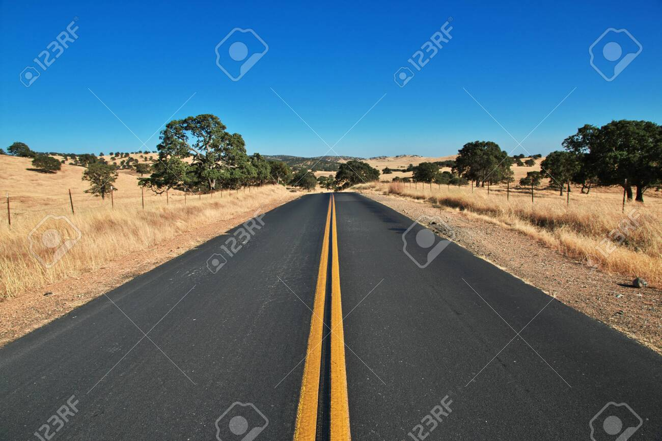 Road on fields of California, USA - 123622592