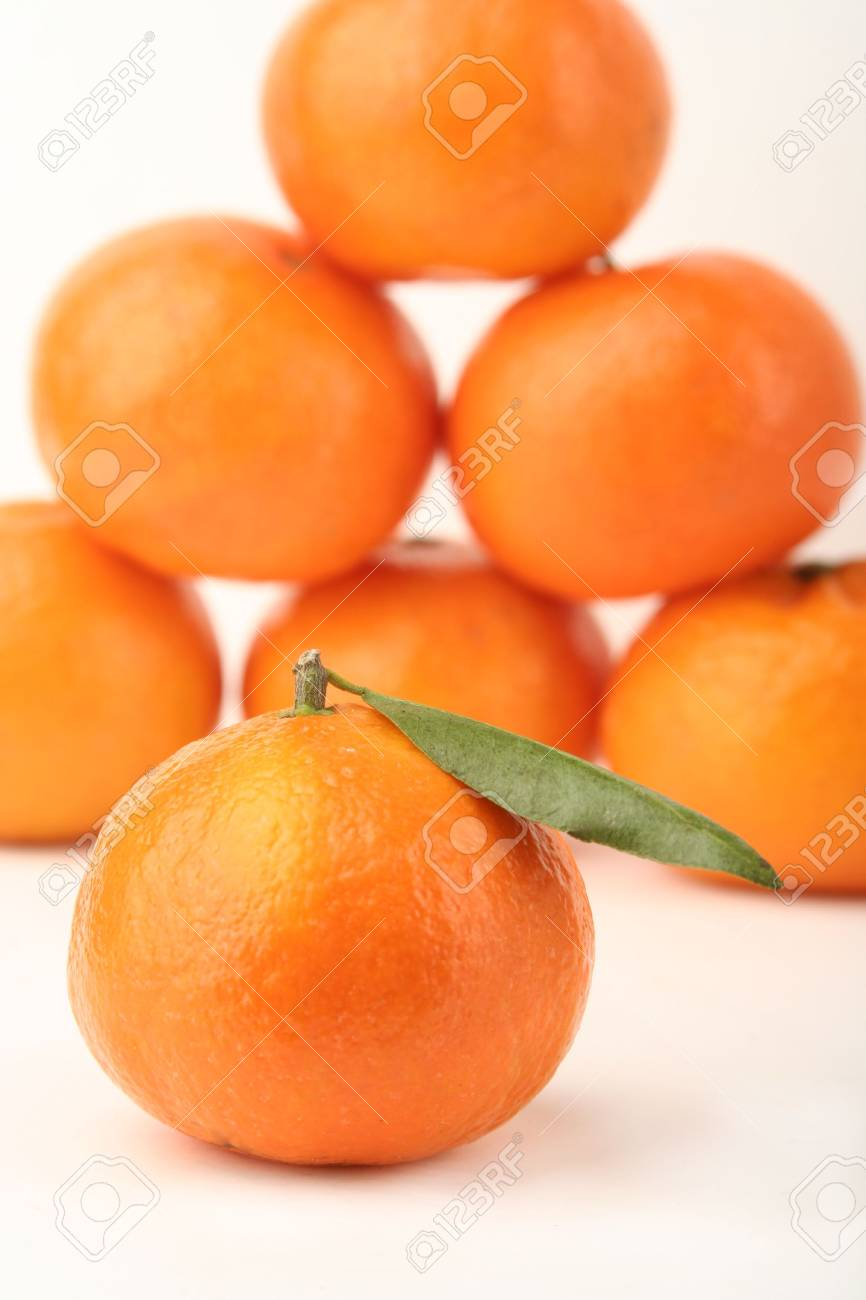 Ripe tangerines on a white background Stock Photo - 834177
