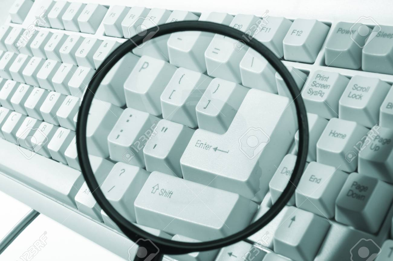 Magnifying glass, button, key Stock Photo - 6936005