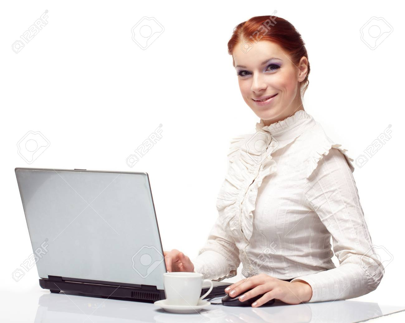 Business woman working on her laptop. Stock Photo - 7063607