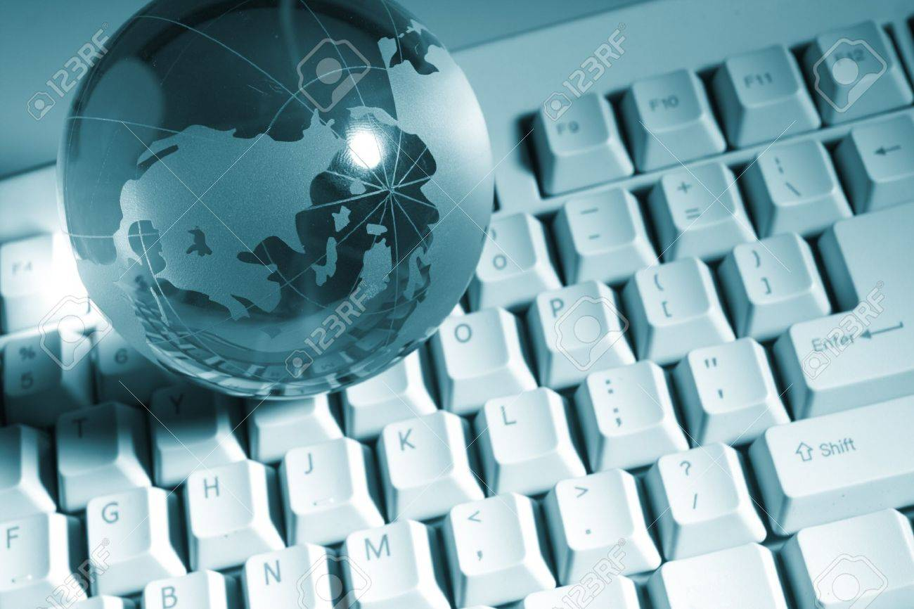 Globe and keyboard Stock Photo - 7979976