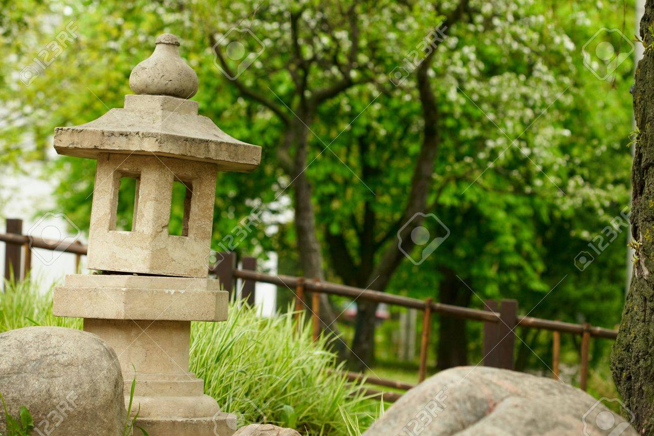 Japanese Garden With Stone Pagoda Stock Photo   8998381