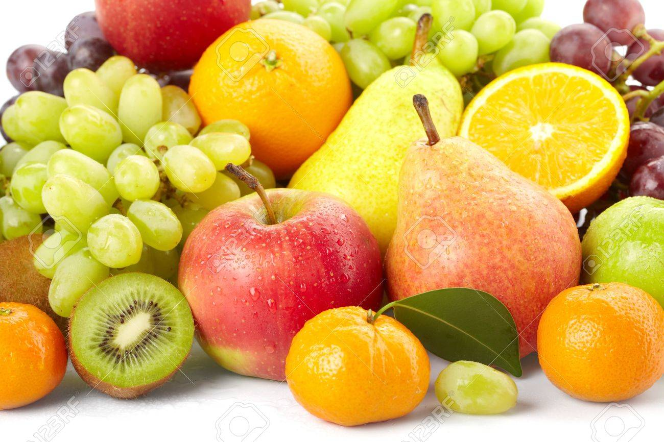 fresh fruits on the white background Stock Photo - 9165721