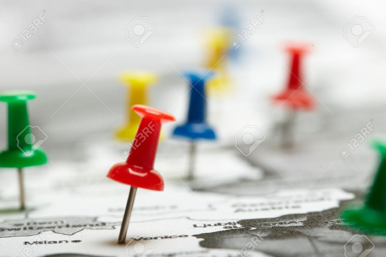 map route marked Stock Photo - 14788306