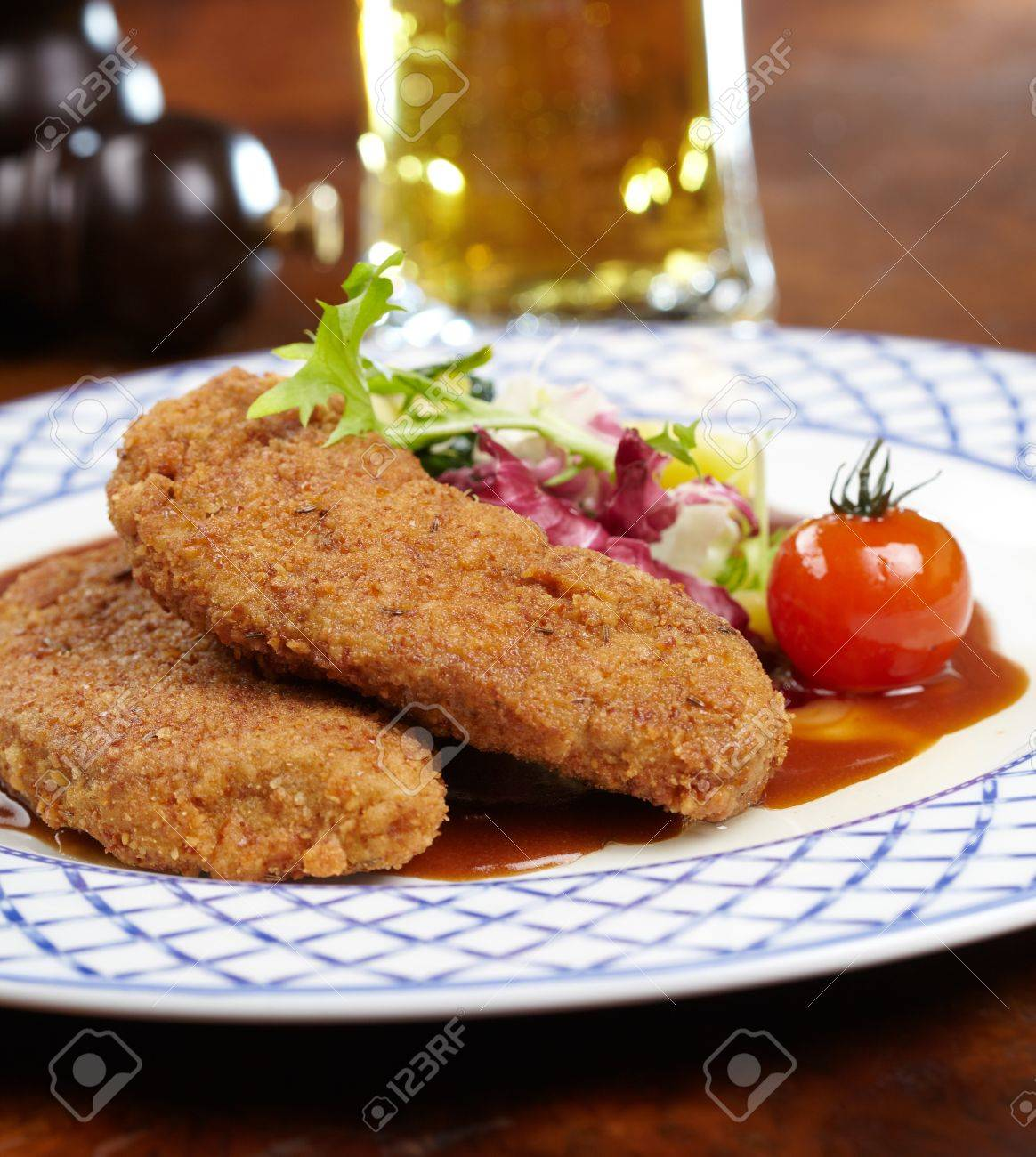 Schnitzel with salad Stock Photo - 19742263